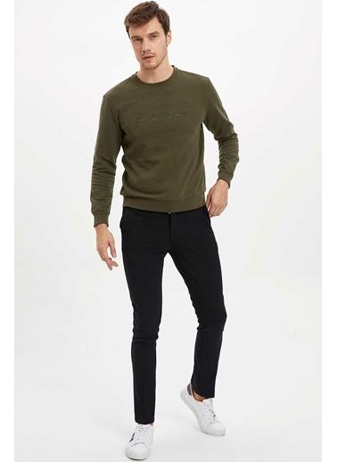 DeFacto Baskılı Slim Fit Sweatshirt Haki